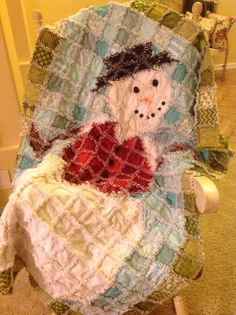 Snowman Rag Quilt - mostly Moda Aspen Frost line.