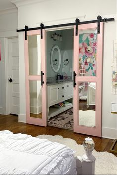 """Love these """"pretty in pink"""" sliding barn doors used to separate her daughter's bedroom/bathroom! Room Ideas Bedroom, Bedroom Decor, Dream Apartment, Aesthetic Room Decor, Home Room Design, Dream Rooms, My New Room, House Rooms, Girl Room"""