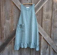 linen jumper pinafore apron dress in blue and by linenclothing
