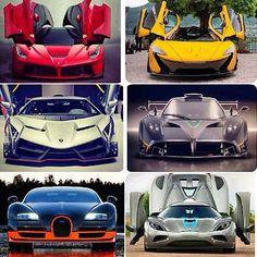 Ferrari laferrari, mclauren P1, Lamborghini veneno, pagani zonda R, bugatti veyron and koenigsegg agera r