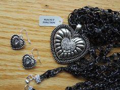 Black Ladder Yarn Necklace w Diamond Shaped Jewel Pendant
