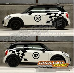 A+++NEW Black and white case number 37 Stickers for  2014 F56 MINI one MINI cooper MINI cooper s car styling