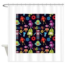 Colorful Kids Robots pattern Shower Curtain for