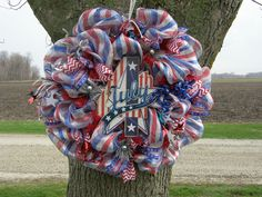 A personal favorite from my Etsy shop https://www.etsy.com/listing/192028271/july-4th-wreath-independence-day-wreath