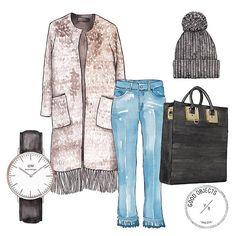 Good objects - Winter outfit, @donbaez_ecochic Coat, @opticaprada Daniel Wellington watch, @hm jeans, @sophie_hulme Bag, @stellamccartney knitted hat #goodobjects #watercolor #illustration