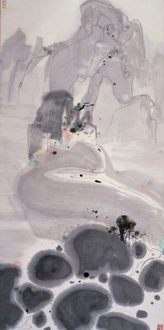 Wu Guanzhong 'Mountains High and Streams Eternal', 1986, ink and color on rice paper, 140 x 70 cm, Shanghai Art Museum.