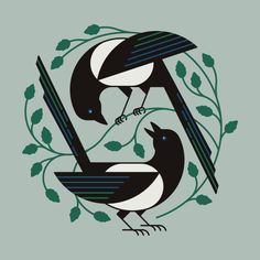 New Bird Pattern Illustration Charley Harper Ideas Art And Illustration, Vogel Illustration, Illustrations, Pattern Illustration, Magpie Tattoo, Vogel Quilt, Fine Art Prints, Canvas Prints, Square Canvas