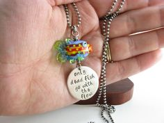 Rainbow Fish Necklace Only Dead Fish Go With The Flow by BooBeadsRainbow Fish Necklace Only Dead Fish Go With The Flow Inspirational Quote Necklace Sterling Silver Fish Necklace Hand Stamped Jewelry