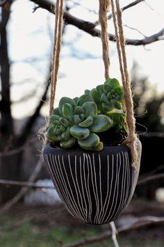 Vertical Line Design Hanging Ceramic Planter // Succulent Planter // Cactus Planter // Small Planter