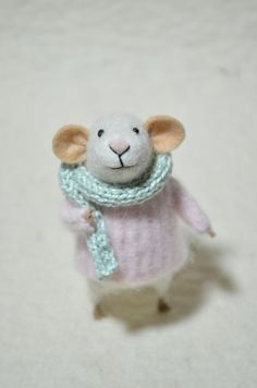 Little Mouse with Sweater and Scarf  unique  by feltingdreams, $68.00