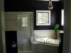 alexia dives posted corner bath and shower tile idea to their -bath ideas- postboard via the Juxtapost bookmarklet. Small Bathroom, Master Bathroom, Bathrooms, Bathroom Ideas, Big Tub, Corner Bath, Dark Walls, Big Windows, Bath Design