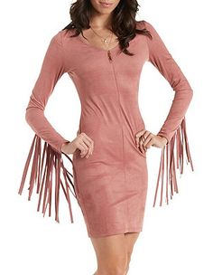 Faux Suede Bodycon Dress with Fringe: Charlotte Russe