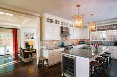 The yesteryear vibe of the Rice home is evident in the kitchen's retro look.