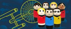"""Big Bang Theory/TOS Pin Mate Figures to Debut at Comic-Con   Beaming into San Diego Comic-Con 2016 for the first time ever is The Big Bang Theory/Star Trek: The Original Series Pin Mate Wooden Figure Set of 7 - Convention Exclusive from Bif Bang Pow! The set of collectible wooden miniature figures celebrates beloved episodes such as """"The Bat Jar Conjecture"""" """"The Codpiece Topology"""" and """"The Launch Acceleration"""" in which The Big Bang Theory characters don Star Trek uniforms.  Designed in a…"""