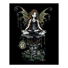 """Affiche """"ambre"""" de fée de nature de Lotus Posters"""