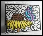Stained Glass Butterfly on Flower Card