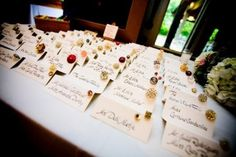 Vintage button placecards.
