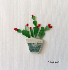 Cactus green image botany image minimal type plant image birthday gift Valentines Day Meerglass and Pebble Art original art Sea Glass Crafts, Sea Crafts, Seashell Crafts, Driftwood Crafts, Sea Glass Beach, Sea Glass Art, Sea Glass Jewelry, Stained Glass, Glass Art Pictures