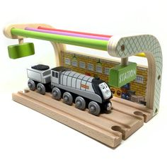 store: Wooden Train and Station (Thomas Series) Wooden Toy Train, Wooden Toys, Thomas The Train Toys, Hobby Trains, Spencer, Model Train Layouts, Brio, Train Tracks, Classic Toys