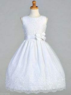 Girls First Communion Dress Embroidered Organza Ribbon Bow Accent 6 7 8 10 12