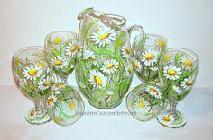 Pintadas en vasos de té y jarra de margaritas blancas 7 pieza juego de té 6 té gafas 1 jarra verano divertido mano pintado vino gafas día de las madres