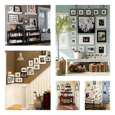 Great photo ideas ~~ I still don't have my family photos hung. We still have some reno to do, but when I get that far I sure like the way these look.
