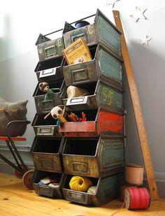 Vintage Industrial Storage Unit for Legos - Building - Creating Diy Kitchen Storage, Storage Bins, Storage Ideas, Yarn Storage, Kids Storage, Storage Solutions, Industrial Storage, Industrial Furniture, Industrial Style