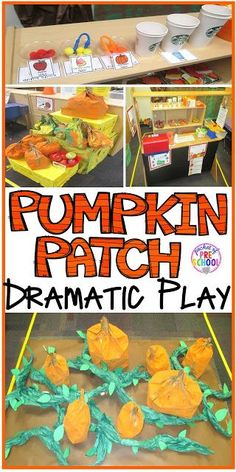 Pumpkin Patch Dramatic Play: How to set it up in your preschool, pre-k, tk, and kindergarten classroom (Pre K Halloween Crafts) Dramatic Play Themes, Dramatic Play Area, Dramatic Play Centers, Preschool Dramatic Play, Preschool Centers, Fall Preschool, Preschool Lessons, Preschool Ideas, Halloween Preschool Activities