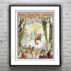 New Orleans Mardi Gras Vintage 1900 Art Print by AnInspiredImage, $19.95