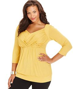 NY Collection Plus Size Top, Three-Quarter-Sleeve Crisscross - Plus Size Tops - Plus Sizes - Macy's $39
