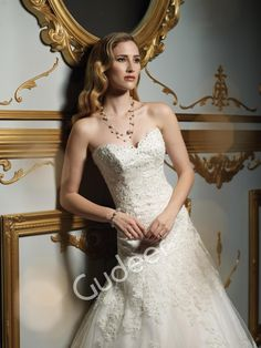 Strapless Allover Lace Beaded Embroidered Mermaid Wedding Gown