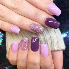 Light Purple Nails, Dark Purple Nails, Purple Glitter Nails, Purple Acrylic Nails, Purple Nail Art, Purple Nail Designs, Light Nails, Gel Nail Designs, Gliter Nails