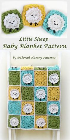 Crochet Baby Blanket Pattern - Crochet Sheep Baby Blanket - Easy Crochet Patterns by Deborah O'Leary Motifs Afghans, Baby Afghans, Afghan Patterns, Crochet Blanket Patterns, Crochet Stitches, Crochet Sheep, Crochet Bebe, Kids Crochet, Crochet Ideas
