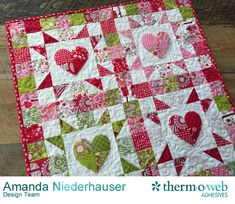 4-Patch Heart Mini Quilt Featuring HeatnBond Lite - Therm O Web