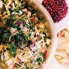 Winter salad with cabbage, kale, apple, pear, pomegranate seeds and apple cider vinegar