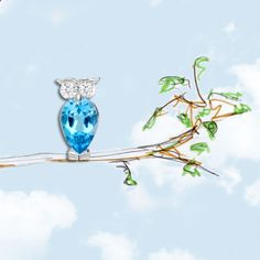 Gufetto Leo Pizzo in white Gold, Diamonds and Blue Topaze, our Lucky Charm in the best Shops.