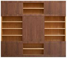 Mask bookcase. Open structure made of cherry wood with adjustable shelves, 1 big sliding door and 4 small sliding doors made of canaletto walnut wood. Upon request: doors veneered in Maple, Wenge, Macassar Ebony, Padouk, Cherry, Oak.