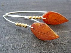 Modern Sterling Silver Wire Earrings - Autumn Leaves | Humblebeads Jewelry