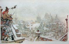 Kleine jongen komt met een grote kop warme soup om de artist op het besneeuwde dak warm te houden. Zo schattig ---  Anton Franciscus Pieck (19.04.1895 –24.11.1987), a Dutch painter, artist and graphic artist