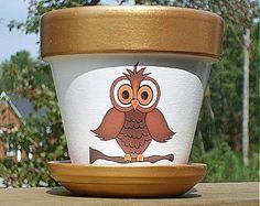 Four Inch Owl Flower Pot, Terra Cotta