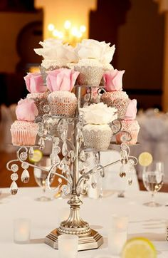 How about this vintage glam cupcake stand with a delicious dessert selection for your reception table, centerpiece decor?