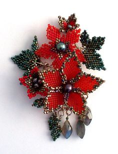 Peyote Stitched Poison Flower Brooch/Pendant with Peacock Pearls and Labradorite