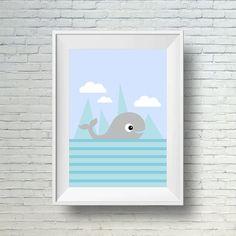 Whale nursery art, blue and gray nursery decor art print