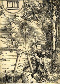 """Albrecht Dürer - """"Jean dévorant le livre de la Vie"""" - Extrait de """"L'Apocalypse""""…"""