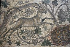 Antioch: Vine Scroll Mosaic Vine Scroll Floor Mosaic: A.D. 526-540. From the excavations of Antioch, now in the Worcester Art Museum.