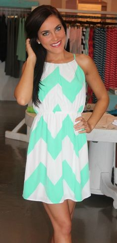 Dottie Couture Boutique - Mint & White Chevron Dress $49