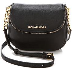 MICHAEL Michael Kors Bedford Flap Cross Body Bag ($180) ❤ liked on Polyvore featuring bags, handbags, shoulder bags, purses, bolsas, black, leather crossbody, leather purse, black purse and black leather purse