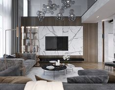Modern interior country house on Behance Classy Living Room, Home Living Room, Living Room Decor, Luxury Interior, Modern Interior, High Ceiling Living Room, Modern Tv Wall Units, Living Tv, Living Room Tv Unit Designs