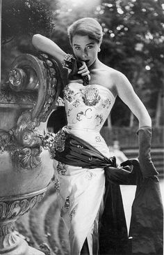 Fashion 50s. Wearing Maggy Rouff 1952 Photographed by Henry Clarke.