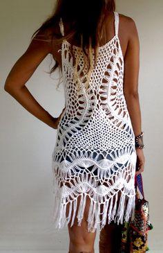 Half Moon Crochet Dress with Fringe- Black or White